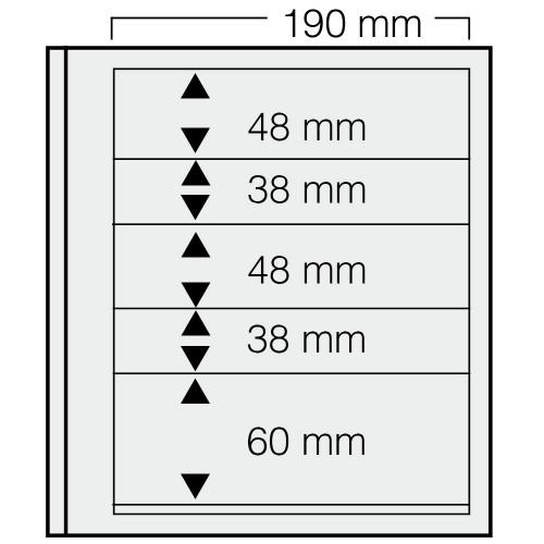"""Feuilles """"Spécial Dual""""- 5 Bandes - 48,38,48,38,60mm - Paquet de 5"""