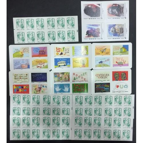 Lot de faciale 100 timbres TVP Vert - En Carnets